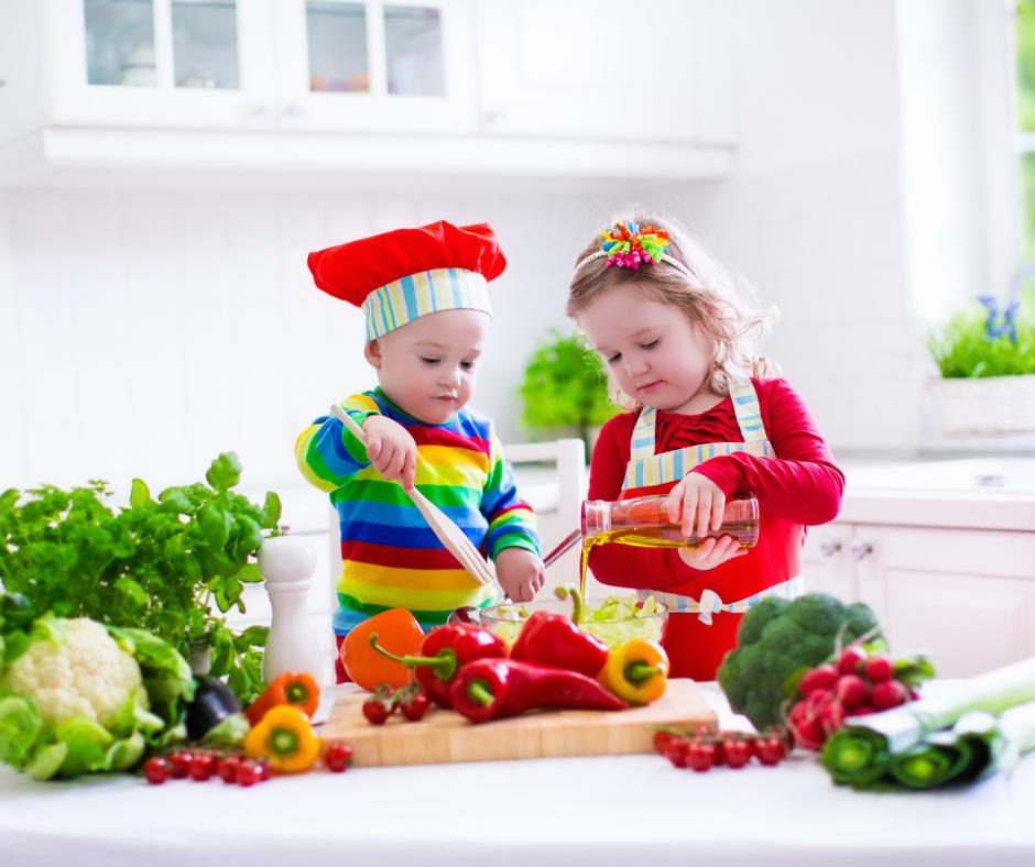 kids having fun with food, vegetables etc.